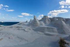 Mineral formations on coastlines Milos island Royalty Free Stock Image