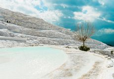 The mineral hillside of Pamukkale. The amazing hillside of Pamukkale was formed by mineral-rich water dripping down years after years, building the unique stock photo