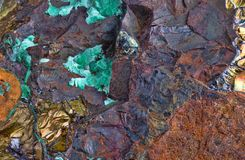 Mineral with impregnated pyrite and malachite royalty free stock photos