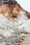 Mineral lake in Noboribetsu Jigokudani Hell Valley: The volcano valley got its name from the sulfuric smell. Royalty Free Stock Image