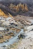 Mineral lake in Noboribetsu Jigokudani Hell Valley: The volcano valley got its name from the sulfuric smell. Royalty Free Stock Photography