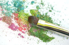 Mineral Make-up. Mineral make up, with cosmetic brush, on  a white background Royalty Free Stock Images