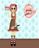 Mineral Makeup. Illustration of a girl modeling mineral makeup royalty free illustration