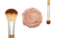 Mineral makeup powder with brush Stock Photos