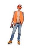 Mineral man with flashlight Stock Image
