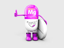 Mineral Mg Magnesium shining pill cartoon capsule icon . 3d illustration Royalty Free Stock Photography