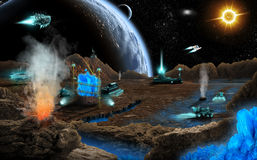 Mineral mining. On far planet Royalty Free Stock Image