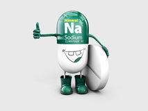 Mineral Na Sodium shining pill cartoon capsule icon . 3d illustration Royalty Free Stock Images