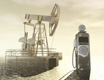 Mineral oil. Digital visualization of oil production Stock Photos