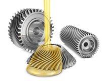 Mineral oil on gears stock illustration