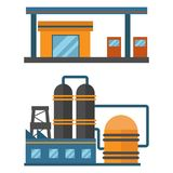 Mineral oil petroleum extraction production factory logistic equipment vector icons illustration Royalty Free Stock Images