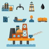 Mineral oil petroleum extraction production transportation factory logistic equipment vector icons illustration Stock Photos