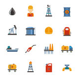 Mineral oil petroleum extraction, production, transportation factory logistic equipment vector icons illustration Royalty Free Stock Images