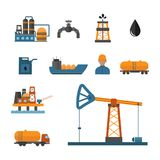 Mineral oil petroleum extraction production transportation factory logistic equipment vector icons illustration Stock Image