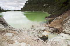 Mineral Pool. Active volcanic pool, shows its green stained mineral colour at Waiotapu Volcanic area, Rotorua, New Zealand Royalty Free Stock Photos