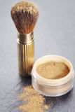 Mineral powder with brush Royalty Free Stock Photos