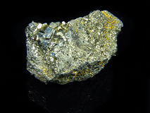 Mineral pyrite iron black reflection Royalty Free Stock Photography
