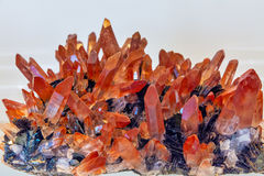 Mineral of Quarts with Hematite Crystals Royalty Free Stock Photos