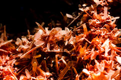Mineral. Red crystals of crocoite in the Vernadsky Sate Geological Museum in Moscow Stock Photo
