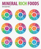 Mineral rich foods infographics. stock illustration