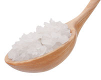 Mineral salt in wooden spoon isolated on white background cutout Royalty Free Stock Photos