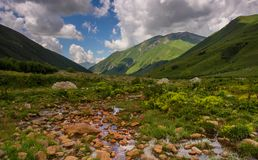 Mineral spring. In a Svaneti valley in Georgian Caucaus Stock Photo