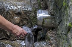 Mineral spring in Vitosha  mountain, adjusted for  use Stock Photography