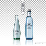 Mineral still or sparkling water bottles mock up. Isolated on transparent background. Vector 3d detailed mock up set Royalty Free Stock Images