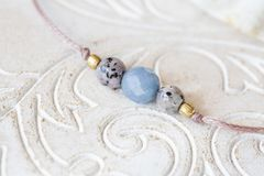 Mineral stone beads yoga bracelet detail royalty free stock image
