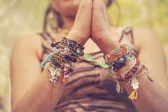 Mineral stone yoga bracelet Stock Photos