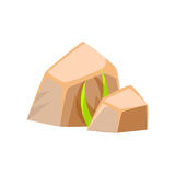 Mineral stones, rocks in natural environment vector Illustration Royalty Free Stock Photography
