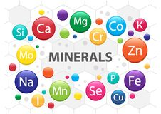 Free Mineral Supplement Set. 3d Multivitamin Complex For Health. Vitamin Icons. Calcium Magnesium Zinc Iron Iodine Manganese Cobalt Stock Photography - 182449832