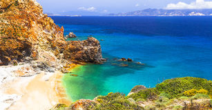 Mineral Thiorichia beach on Milos island Royalty Free Stock Photo