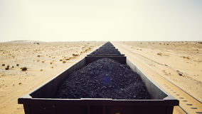 Mineral train in Mauritania Royalty Free Stock Photos