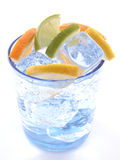 Mineral water. Glass of mineral water with orange - isolated on white Royalty Free Stock Images
