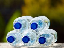 Mineral water bottles on nature background Stock Photography