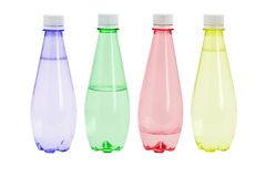 Mineral water in colorful plastic bottles Stock Photo