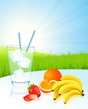 Mineral water and fruits Stock Photos