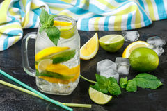 Mineral water with lemon, lime and mint. Detox. Diet. Refreshing drink Stock Photos