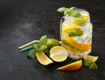 Mineral water with lemon, lime and mint. Detox. Diet. Refreshing drink Stock Images