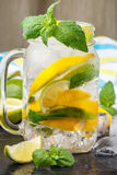 Mineral water with lemon, lime and mint. Detox. Diet. Refreshing drink Stock Image