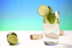 Mineral water with lime, ice cubes and peppermint leafs Royalty Free Stock Photos