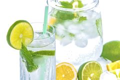 Mineral Water, Lime, Ice, Mint Royalty Free Stock Image