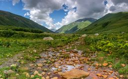Mineral water spring. In Svaneti mountains in Caucasus Royalty Free Stock Image