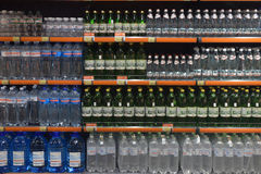 Mineral water on supermarket shelves, Royalty Free Stock Photography