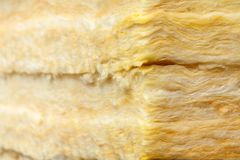 Mineral wool thermal insulation batts close-up. Mineral wool or mineral fiber, mineral cotton, mineral fibre, glass wool, MMMF, MMVF fiber thermal insulation Stock Photo