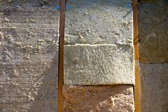 Mineral wool house insulation stock image