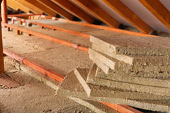 Mineral wool stack on construction site Royalty Free Stock Photography