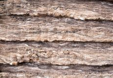 Mineral wool stacked in several layers stock photography
