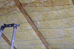 Mineral wool THERMAL INSULATION. House thermal protection Royalty Free Stock Photos